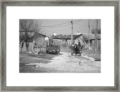Car Vs Horse Cart Framed Print by Gabriela Insuratelu