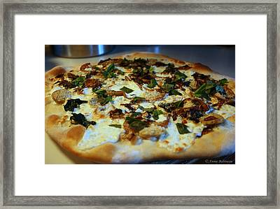 Caramelized Onion And Spinach Pizza Framed Print by Anne Babineau