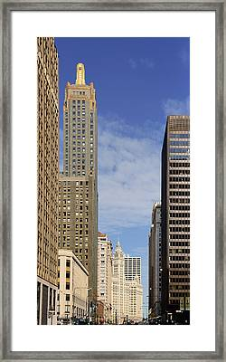 Carbide And Carbon And Wrigley Building - Two Chicago Classics Framed Print by Christine Till