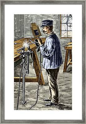 Carbon Arc Welding, 1900 Framed Print