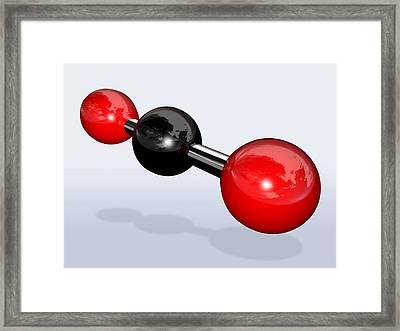 Carbon Dioxide Molecule Framed Print by Miriam Maslo