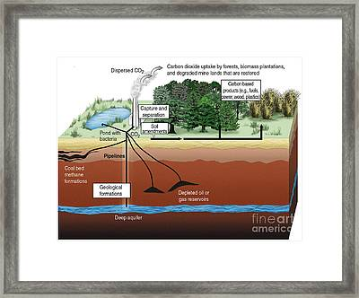 Carbon Dioxide Sequestration Framed Print by ORNL/Science Source