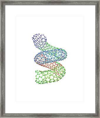 Carbon Nanotube, Computer Model Framed Print by Dr Tim Evans