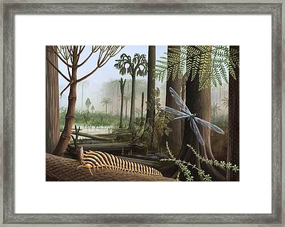 Carboniferous Insects, Artwork Framed Print by Richard Bizley