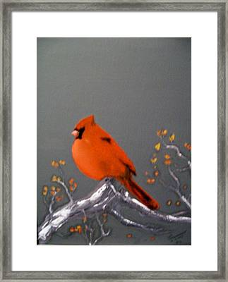 Framed Print featuring the painting Cardinal by Al  Johannessen