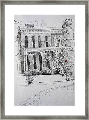 Framed Print featuring the drawing Cardinal by Patsy Sharpe