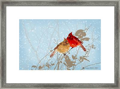 Cardinals In The Snow Framed Print by Melanie Whitaker