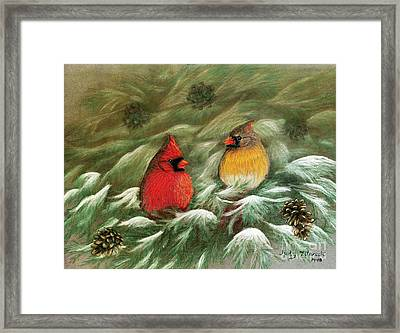 Cardinals In Winter Male And Female Cardinals Framed Print by Judy Filarecki