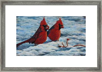 Cardinals In Winter Framed Print by Tracey Hunnewell
