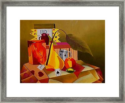 Cards On The Table Framed Print by Karin Eisermann