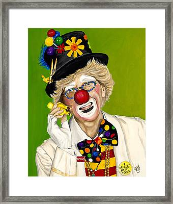 Careful The Clown Framed Print by Patty Vicknair