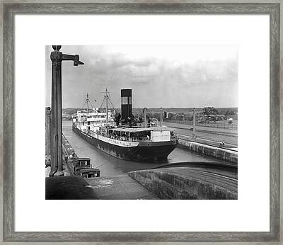 Cargo Ship, Panama Canal Framed Print by George Marks