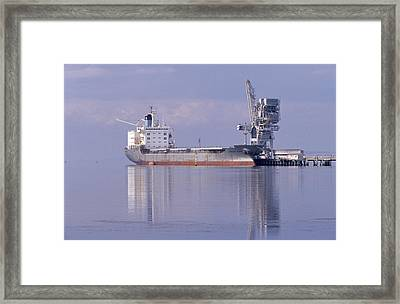 Cargo Tanker Ship Tied Up To A Jetty Framed Print by Jason Edwards