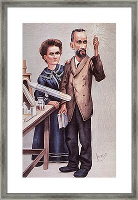 Caricature Of Pierre And Marie Framed Print by Everett