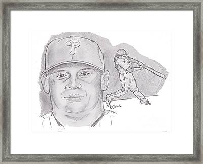 Framed Print featuring the drawing Carlos Ruiz by Chris  DelVecchio