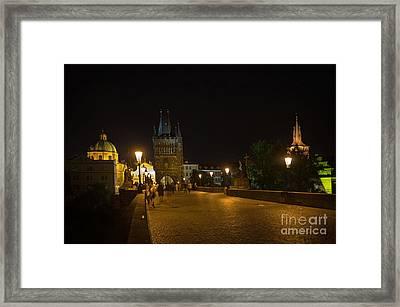 Carls Bridge Prague By Night Framed Print