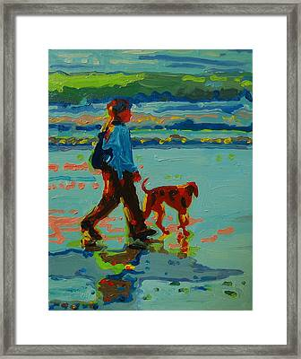 Carmel Beach Sunset Dog Walk Framed Print by Thomas Bertram POOLE