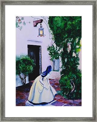 Carmel California Courtyard Framed Print by Eve Riser Roberts
