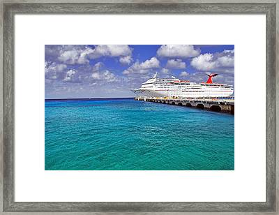 Carnival Elation Docked At Cozumel Framed Print