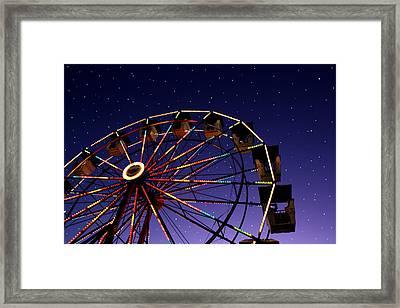 Carnival Ferris Wheel Against Starry Night Sky Framed Print