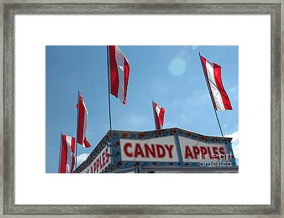 Carnival Festival Fair Candy Apples And Flag Stand Framed Print by Kathy Fornal