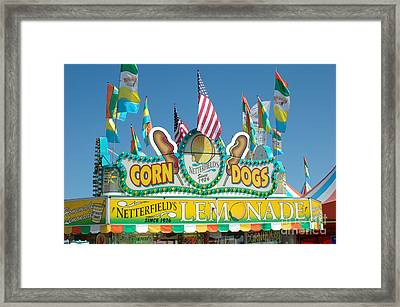 Carnival Festival Fun Fair Corn Dog Lemonade Stand Framed Print by Kathy Fornal