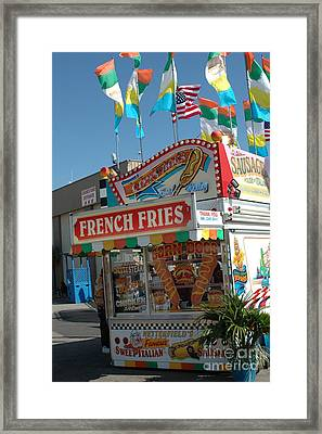 Carnival Festival Fun Fair French Fries Food Stand Framed Print by Kathy Fornal