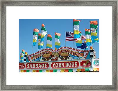 Carnival Festival Fun Fair Sausage Corn Dog Stand Framed Print by Kathy Fornal