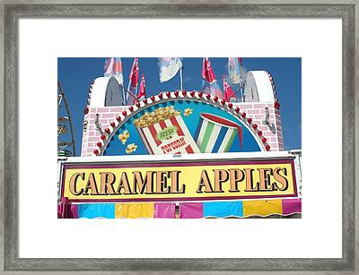 Carnivals Fairs And Festival - Caramel Apples Sign Framed Print by Kathy Fornal