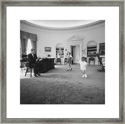 Caroline And John Jr. Dance In The Oval Framed Print by Everett