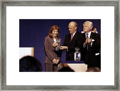 Caroline Kennedy And Senator Ted Framed Print