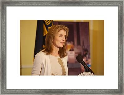 Caroline Kennedy Speaking Framed Print by Everett