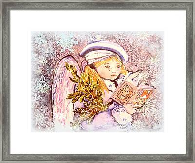 Caroling Angel Framed Print by Mindy Newman