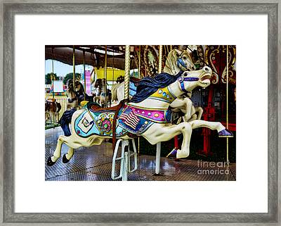 Carousel - Horse - Jumping Framed Print by Paul Ward