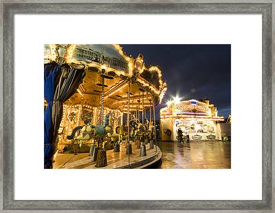 Carousel At The Eiffel Tower Framed Print by Richard Nowitz