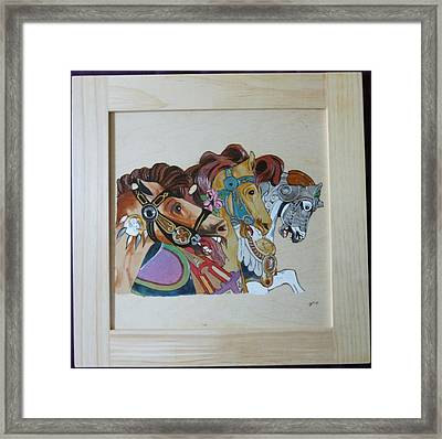 Carousel Horses Pyrographic Wood Burn Art Original 15.5 X 15.5 Inch Complete With Frame By Pigatopia Framed Print by Shannon Ivins