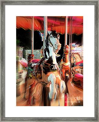 Framed Print featuring the photograph Carousel Horses by Renee Trenholm