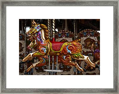 Framed Print featuring the photograph Carousel Horses by Steve Purnell