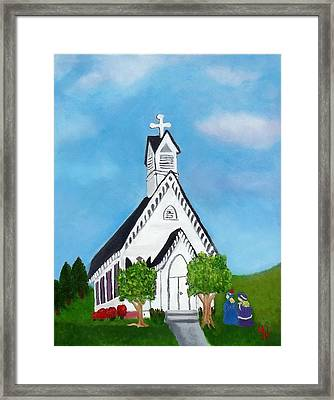 Framed Print featuring the painting Carpenter Gothic Church In Louisiana by Margaret Harmon