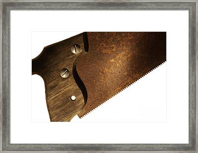 Carpenter Saw Framed Print by Tony Cordoza