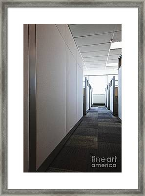 Carpeted Hall With Office Cubicles Framed Print by Jetta Productions, Inc