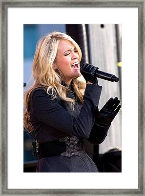 Carrie Underwood On Stage For Good Framed Print by Everett