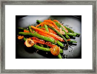 Carrot And Green Beans Stir Fry Framed Print by Iris Filson
