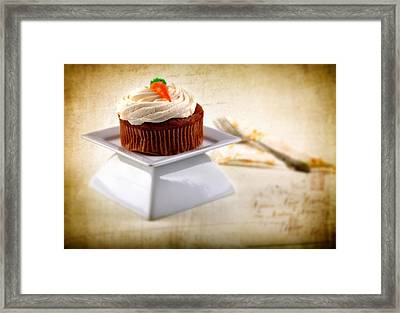 Carrot Cupcake Framed Print by James Bethanis