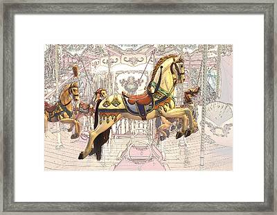 Carrousel With Horses Framed Print by Radoslav Nedelchev