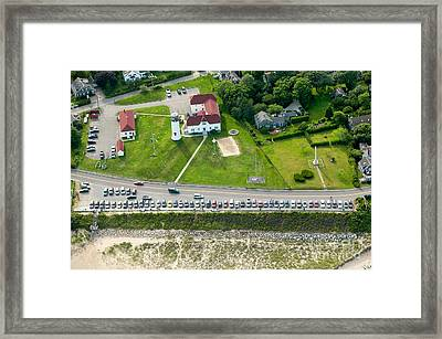 Cars Line Up At The Parking Lot At Chatham Lighthouse And Chatha Framed Print by Matt Suess