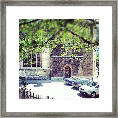 #cars #streets #parking #tree #green Framed Print