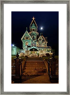 Carson Mansion At Christmas With Moon Framed Print by Greg Nyquist