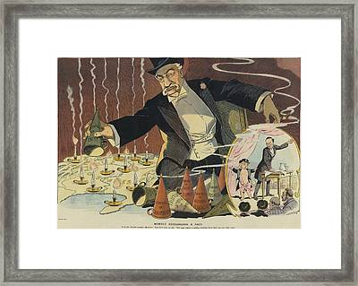 Cartoon Depicting A Giant Businessman Framed Print by Everett