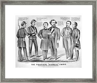 Cartoon: Election Of 1864 Framed Print by Granger
